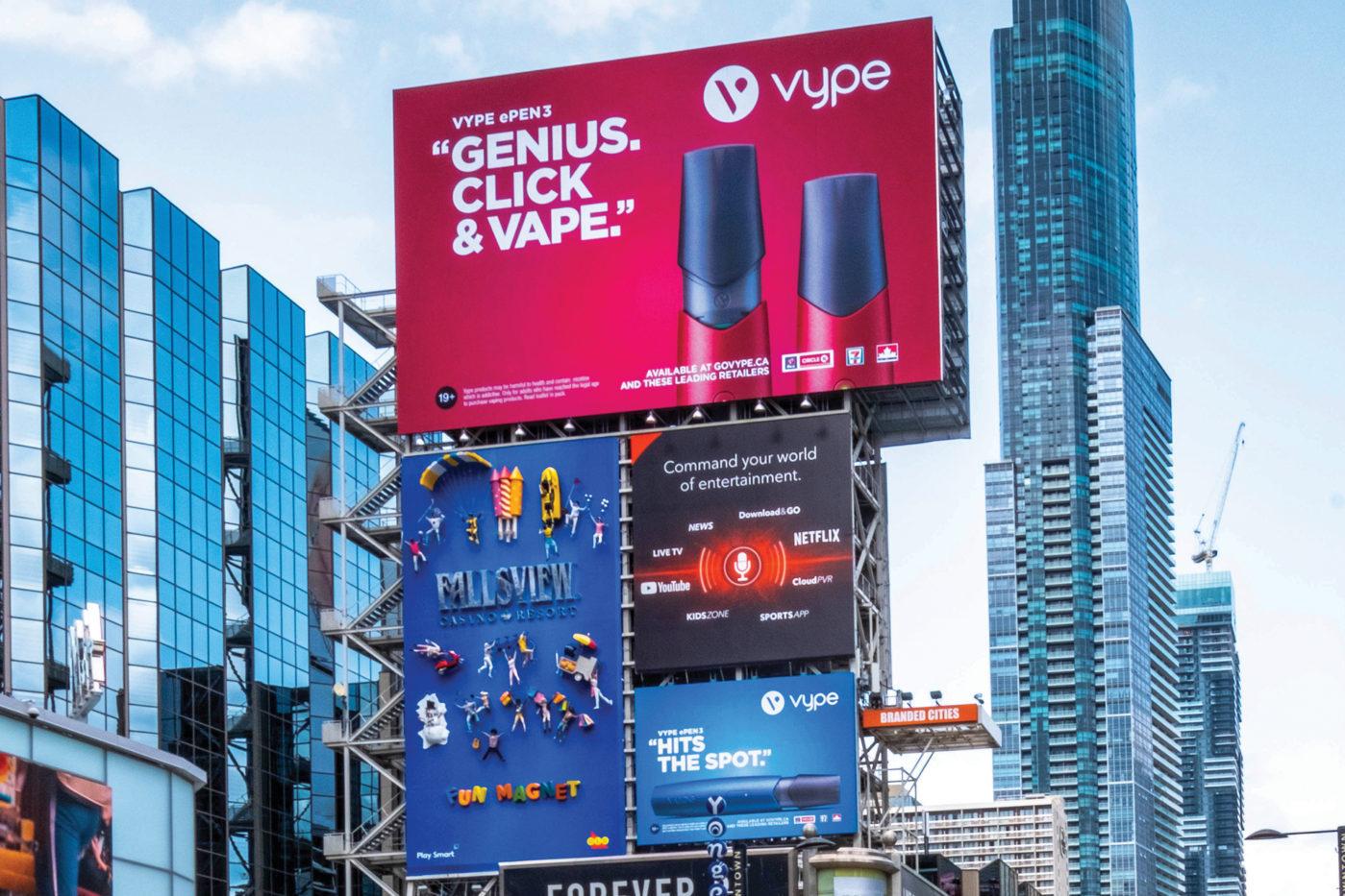 Vype - ePen 3 - Square Yonge-Dundas– tour média AOB (Toronto, Ontario)