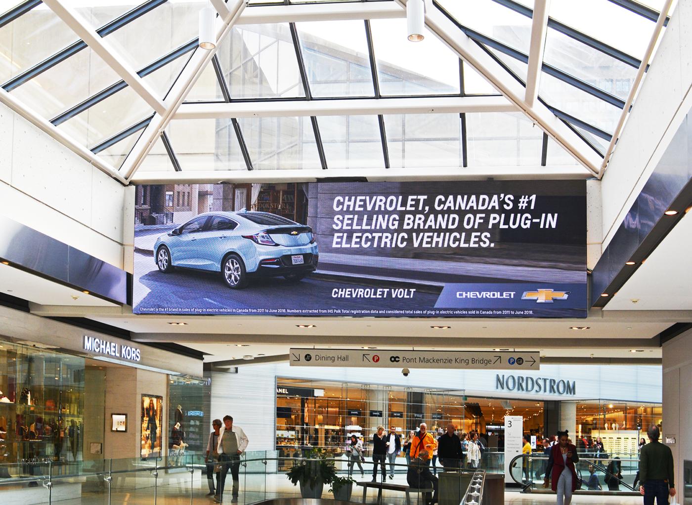 Chevrolet– centre commercial CFCentreRideau– spectaculaires numériques